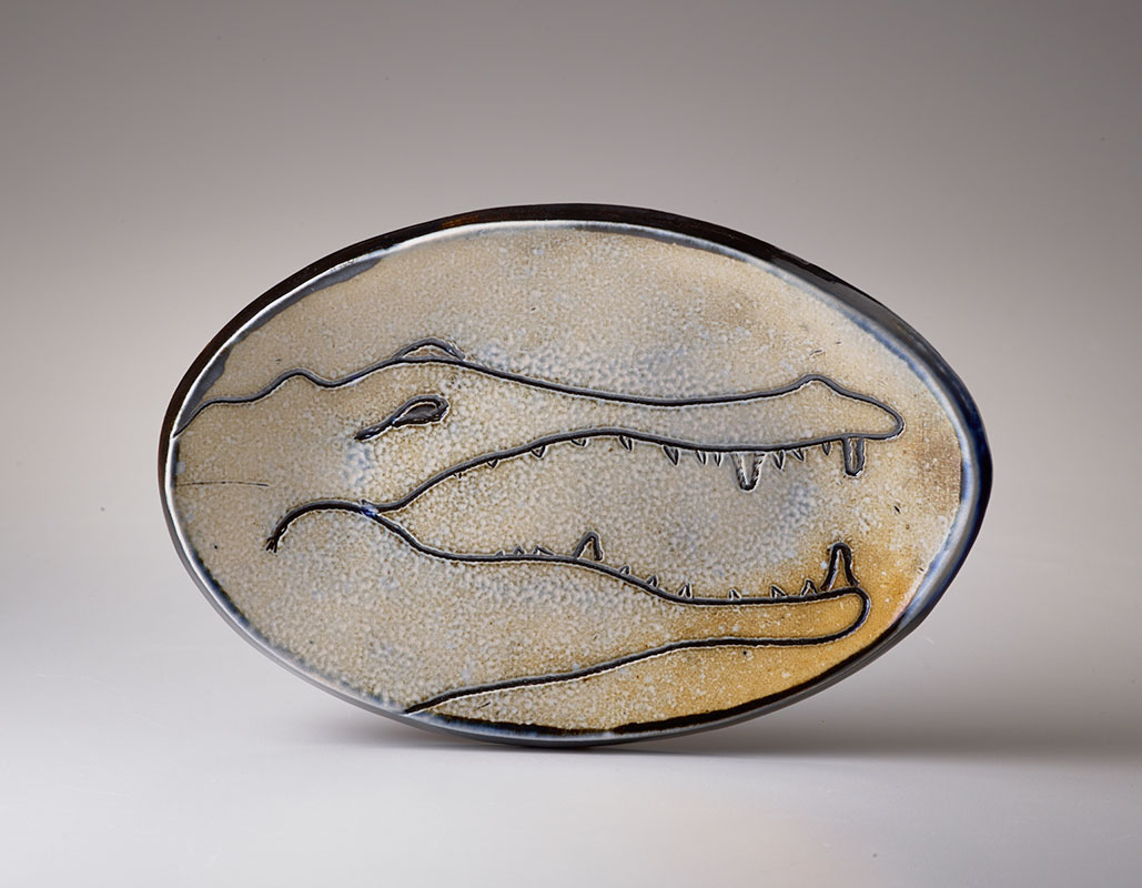 Mary Law - 2020 ACGA Ceramics in Focus Juror - Crocodile Plate, 5in x 9in x 1in
